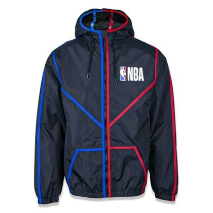 Jaqueta Corta Vento New Era NBA Logo Space Laser Preto