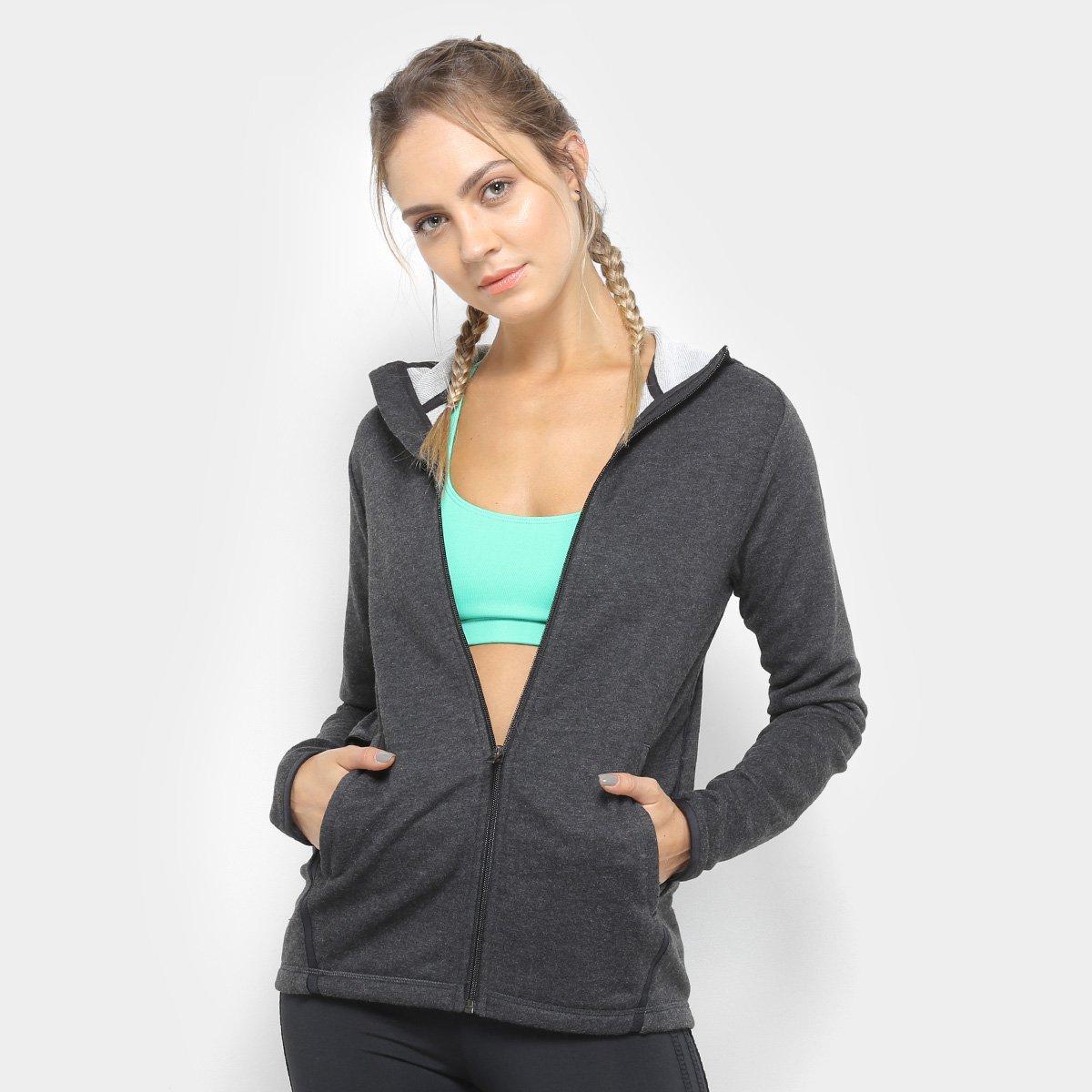 122c41ced5c Jaqueta de Moletom Adidas Hoodie Lite Feminina - Cinza e Preto - Compre  Agora