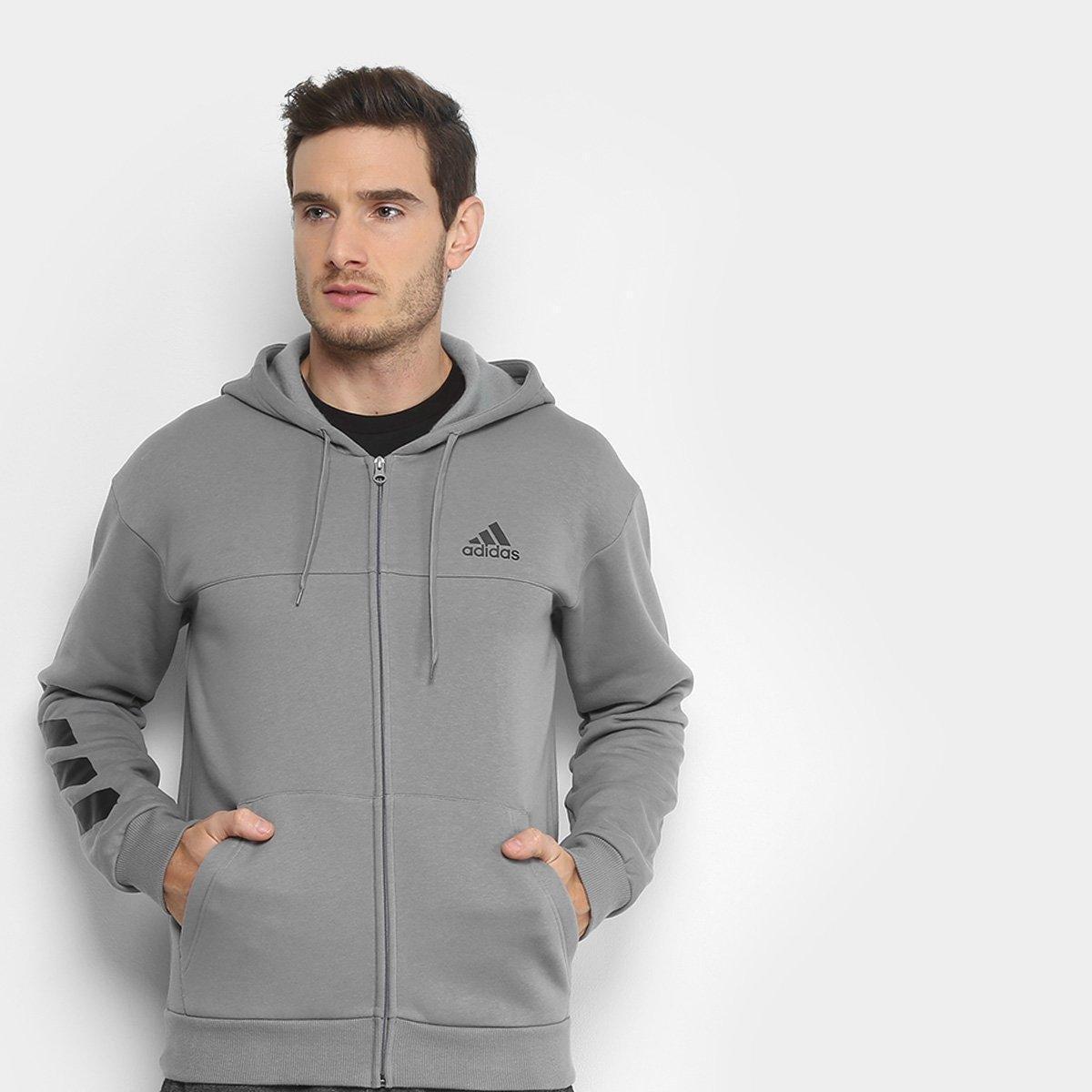 5c713e6907c Jaqueta de Moletom Adidas Sport Full Zip Masculina - Cinza - Compre Agora