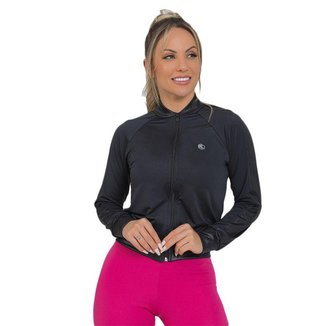Jaqueta Feminina Fitness Suplex Cirrê Preto
