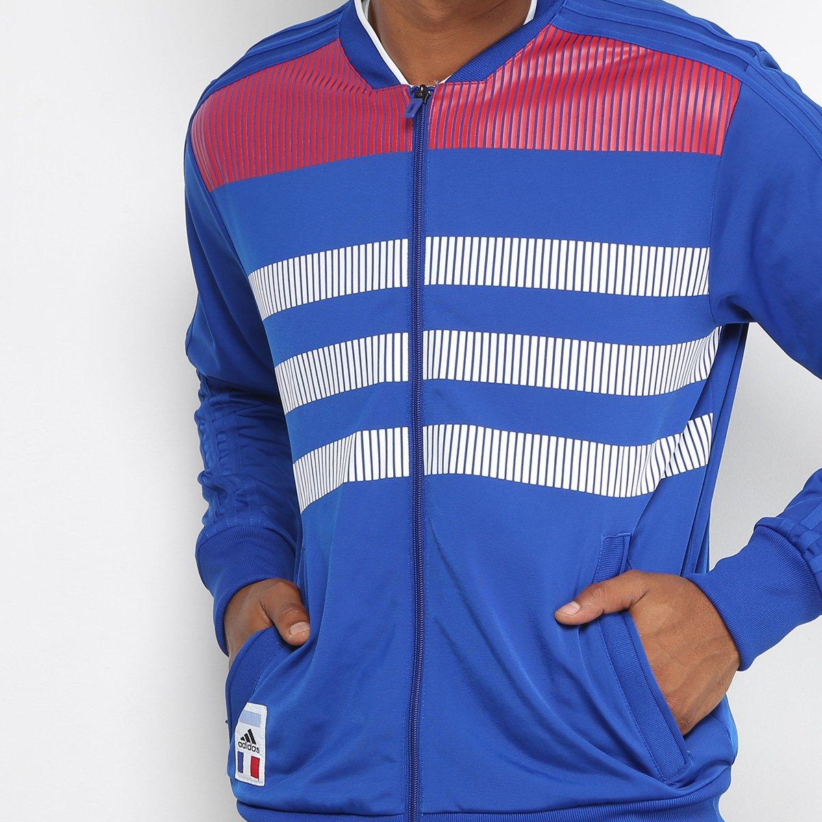 Jaqueta França CI Adidas Masculina - Azul e Branco - Compre Agora ... 5d27bf965439f