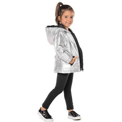 Jaqueta Infantil Menina Em Nylon Com Capuz, Prata - Vrasalon