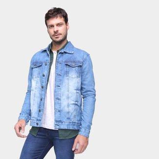 Jaqueta Jeans Ecxo Básica Estonada Masculina