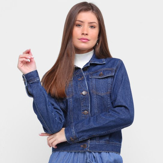 Jaqueta Jeans Ex Adverso Básica Feminina - Azul