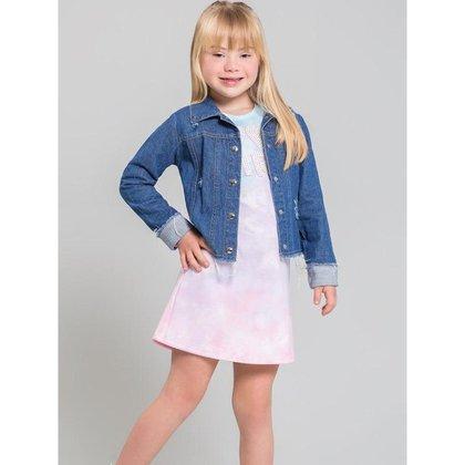 Jaqueta Jeans Infantil Menina Com Detalhe em pêlos, Ursa  - Kukiê
