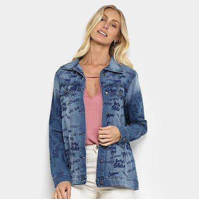 Jaqueta Jeans Mucs Over Estampada Feminina