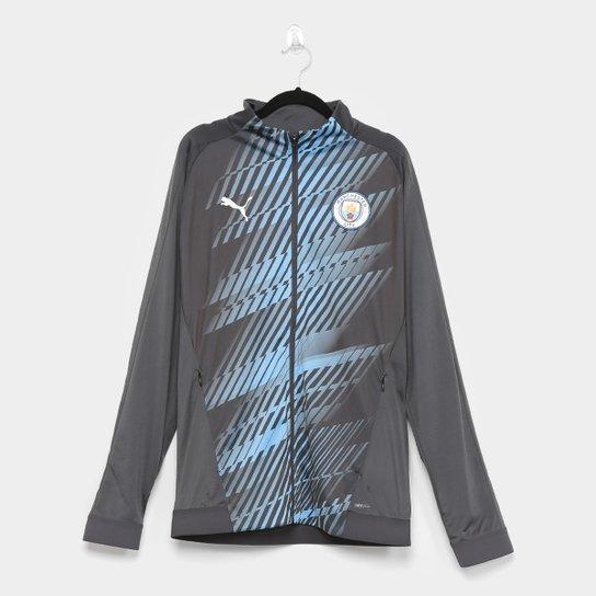 Jaqueta Manchester City Puma Stadium Masculina - Cinza+Azul