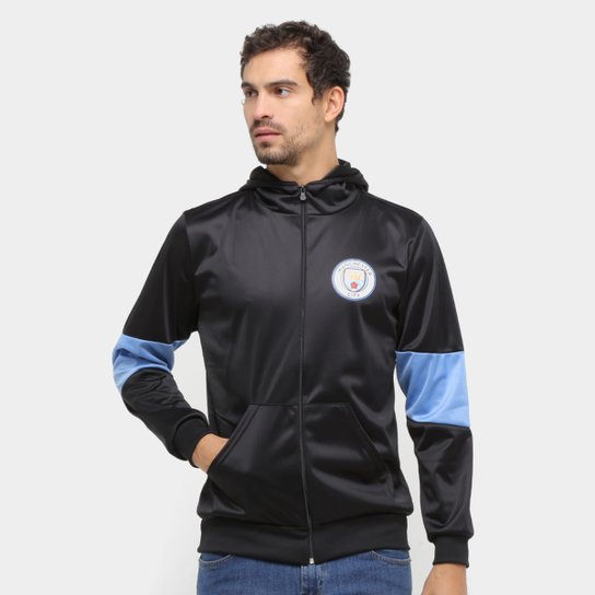 Jaqueta Manchester City Trilobal Capuz Masculina - Preto