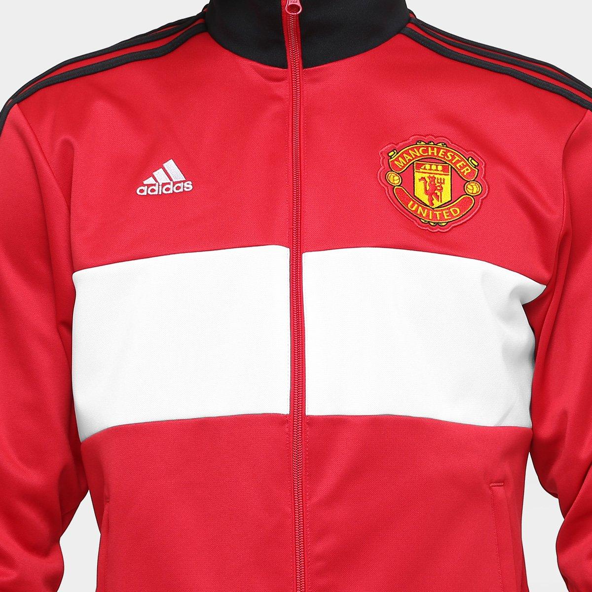 Jaqueta Manchester United Adidas 3S Masculina - Vermelho - Compre ... 7ce55ab797ed1