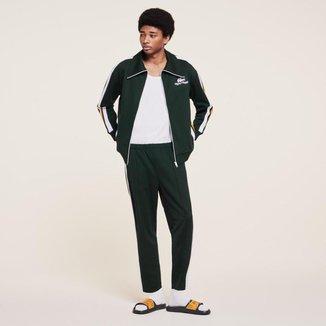 Jaqueta masculina Lacoste x Ricky Regal em piqué com faixas contrastantes e zíper