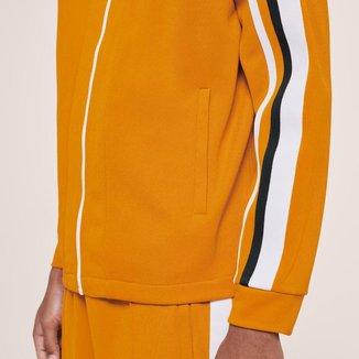 Jaqueta masculina Lacoste x Ricky Regal em piqué com listras contrastantes e zíper