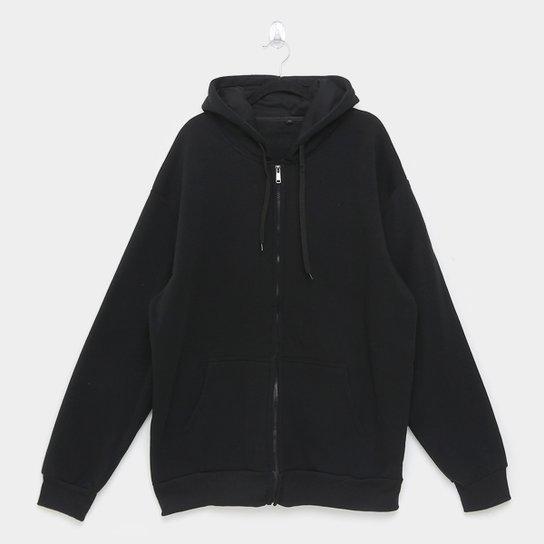Jaqueta Moletom Athletic Jacket Básica Plus Size Masculina - Preto