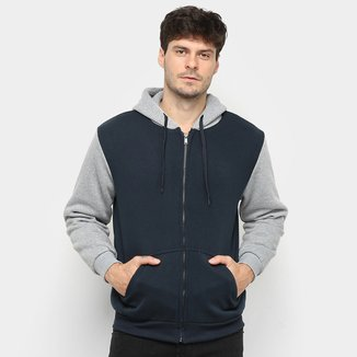 Jaqueta Moletom Athletic Jacket Bicolor com Capuz Masculina