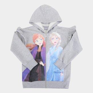 Jaqueta Moletom Disney Frozen Peluciado Babados Com Capuz