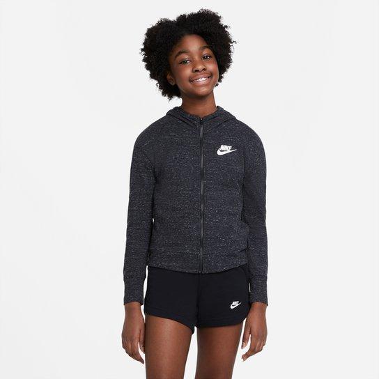 Jaqueta Moletom Infantil Nike Sportswear Jersey Capuz Feminino - Preto