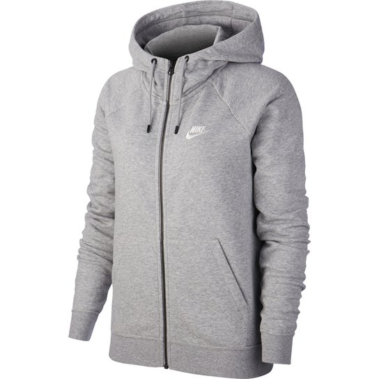 Jaqueta Moletom Nike Essential NSW Feminina - Cinza+Branco
