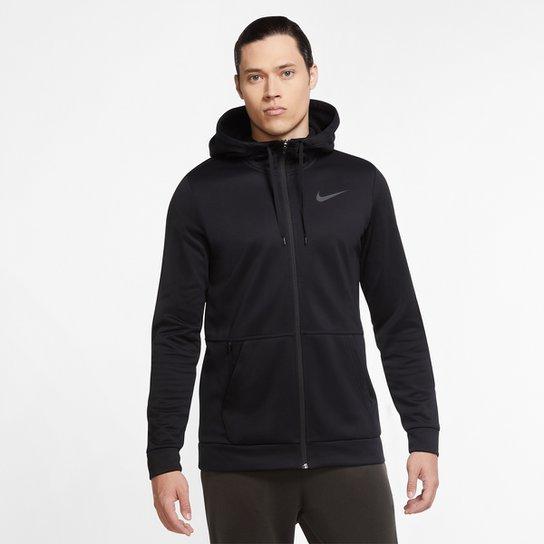 Jaqueta Moletom Nike Therma HD Masculina - Preto+Cinza