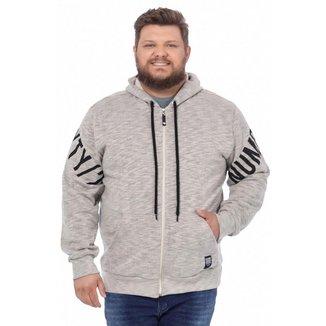 Jaqueta Moletom Plus Size Masculina Com Capuz BGO - VERDE OLIVA - G3