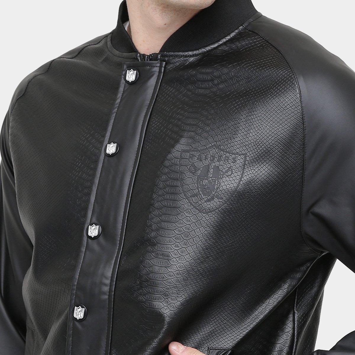 Jaqueta New Era NFL Fake Leather Oakland Raider Masculina - Compre ... 8c8f74ea4a5