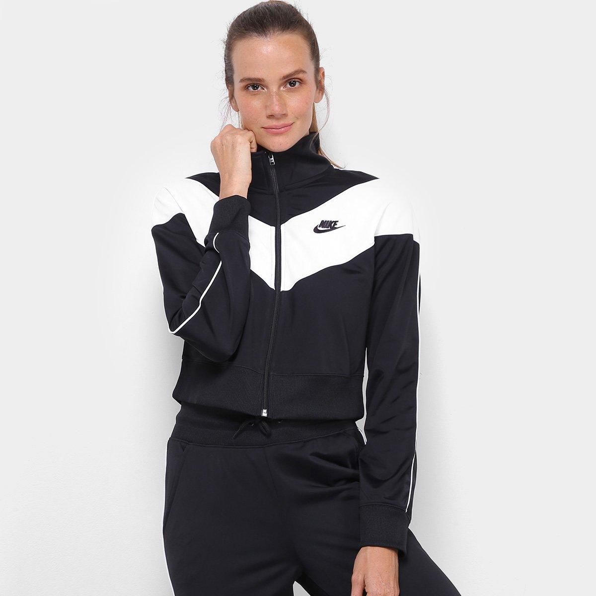 Jaqueta Nike Heritage Track Feminina Preto E Branco