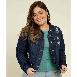 Jaqueta Plus Size Feminina Jeans Destroyed Bolsos - 10046967817