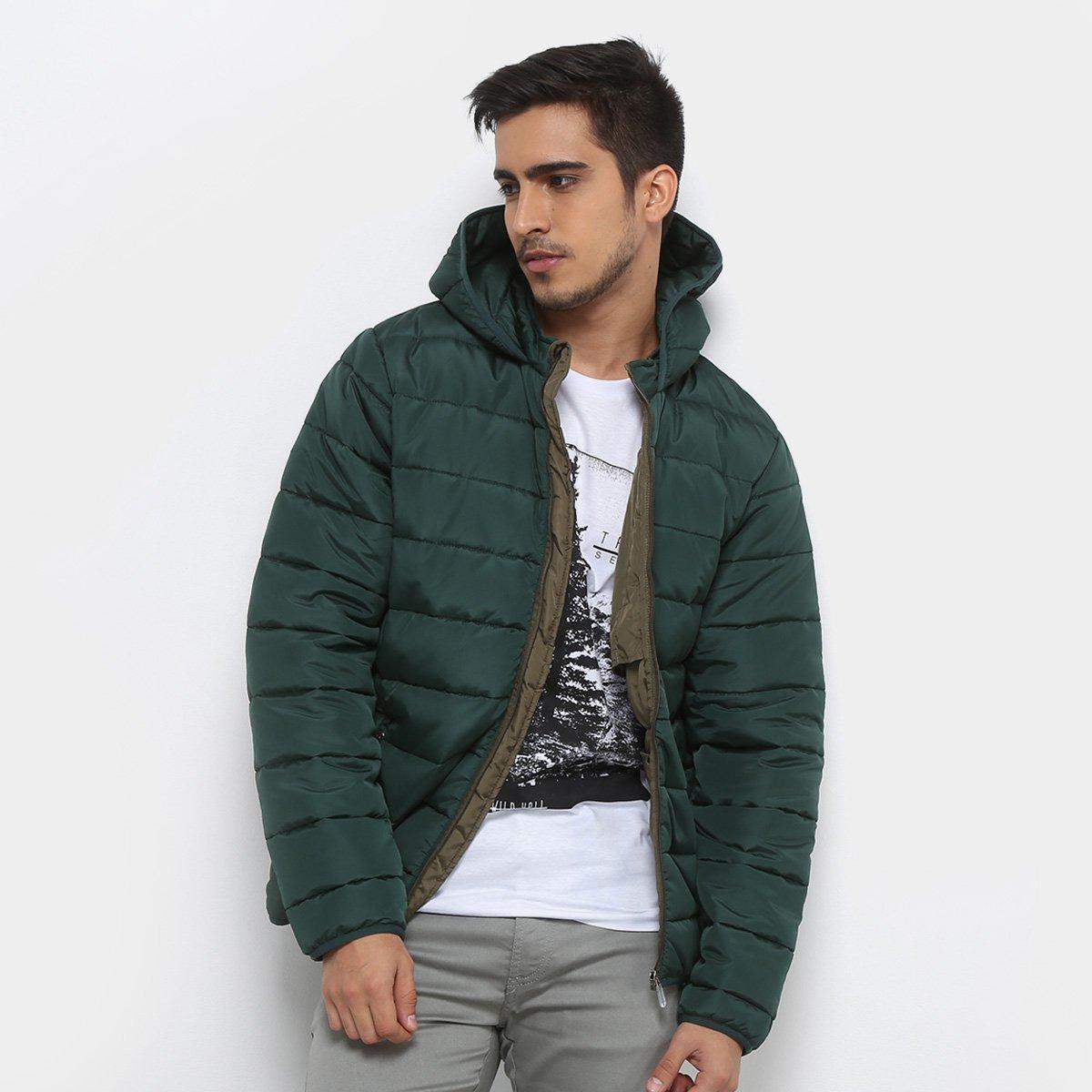 d042108858a60 Jaqueta Puffer Treebo Básica Capuz Masculina - Verde Militar - Compre Agora