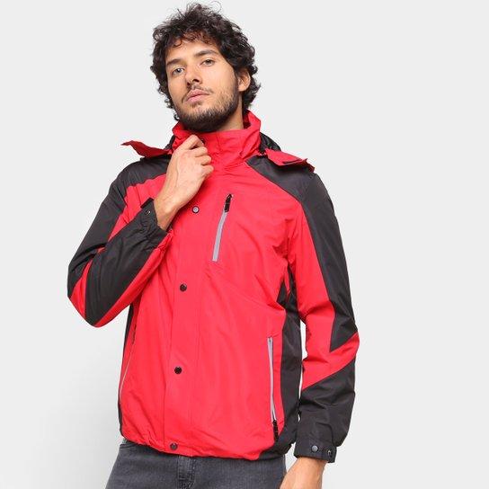 Jaqueta SeV Com Capuz Duas Peças Bicolor Masculina - Vermelho