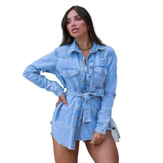 Jaqueta Shacket Parka Feminina Consciência Jeans Botão Revestido 20718