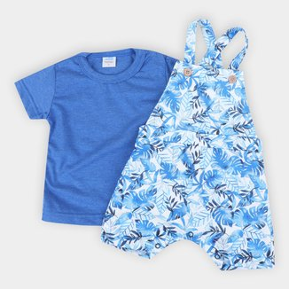 Jardineira Bebê Marlan Folhagens + Camiseta Básica Masculina