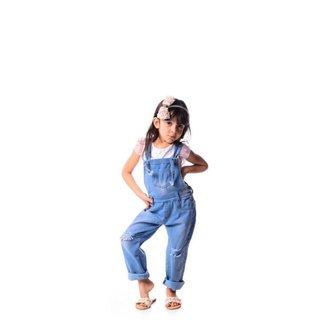 Jardineira Infantil Delavê Menina