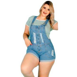 Jardineira Macacão Curto Jeans Plus Size Claro Barra Feita Alça Regulável