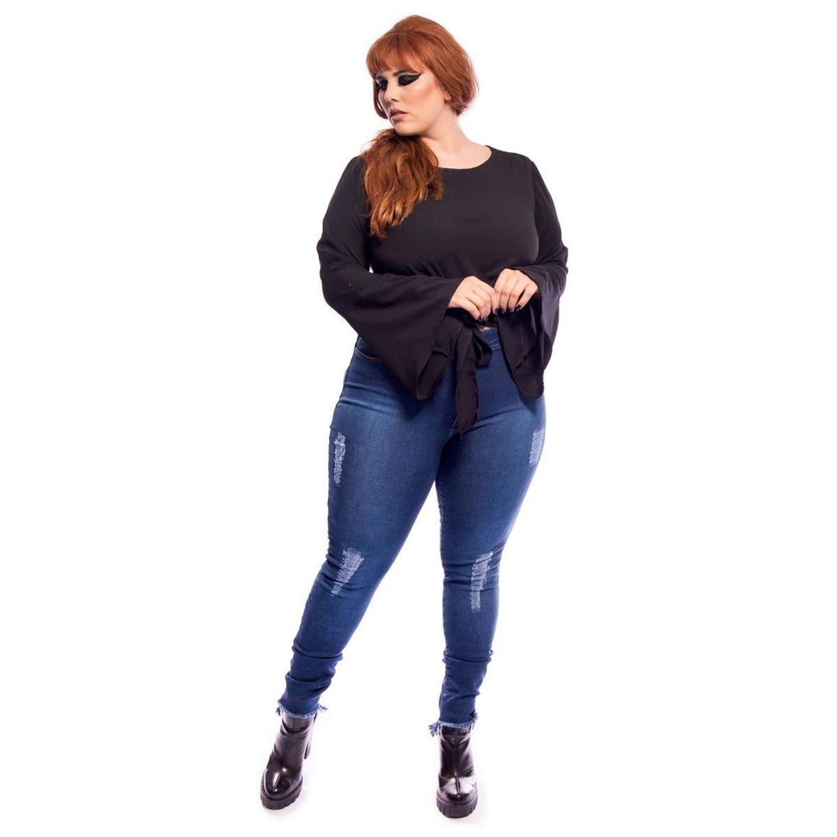 1655398d5 Jeans Cintura Alta Destroyed Super Skinny Barra Assimétrica Plus Size - Compre  Agora | Netshoes