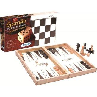 Jogo de Tabuleiro 3 em 1 - Xadrez, Gamao e Ludo Xalingo