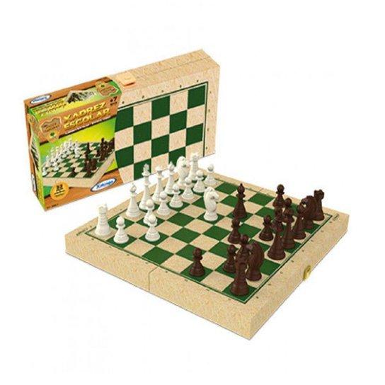 Jogo de Xadrez Escolar Xalingo com Caixa em Madeira Reflorestada - Verde