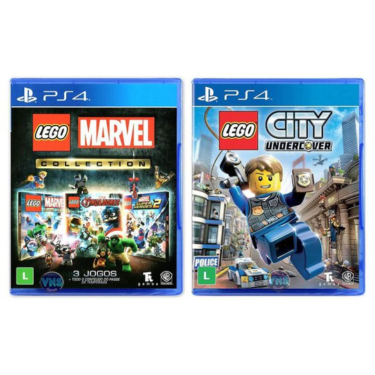 Jogo Lego  Marvel Collection + Jogo Lego  City Undercover   PS4 - Incolor