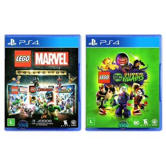 Jogo Lego  Marvel Collection + Jogo Lego  DC Super Villains   PS4