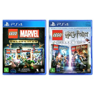 Jogo Lego  Marvel Collection + Jogo Lego  Harry Potter Collection   PS4