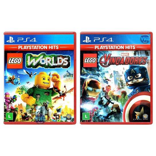 Jogo Lego  Worlds + Jogo Lego  Marvel Vingadores   PS4 - Incolor