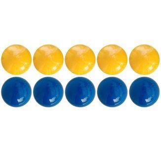 Jogo Sinuca Mata-Mata 10 Bolas Azul e Amarelo  50mm Procópio