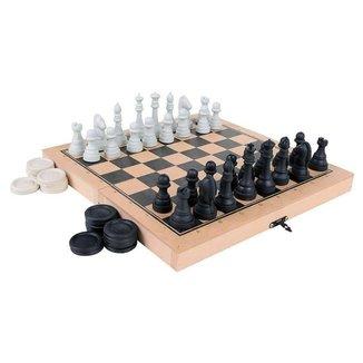 Jogo Xadrez e Damas Colegial - Carlu Brinquedos