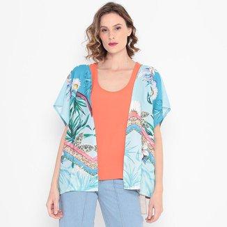 Kimono Folhas Lorita Azul LA LIMA
