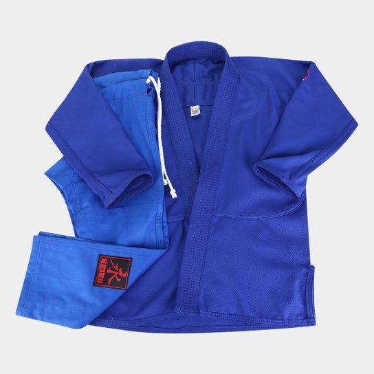 Kimono Jiu Jitsu Juvenil Keiko Trançadinho - Azul