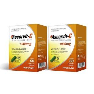 Kit 02 AscorVit Vitamina C 1000mg + Zinco 60 Caps Maxinutri