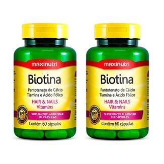 Kit 02 Biotina O Melhor para Cabelo e Unhas 60 Capsulas Maxinutri