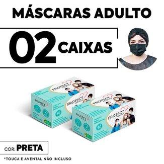Kit 02 caixas Mascara Descartavel Cirurgica Preta c/50 cada