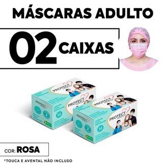 Kit 02 caixas Mascara Descartavel Cirurgica Rosa c/50 Und cada