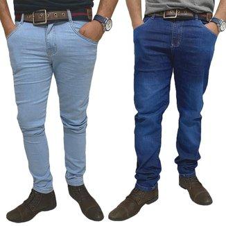 Kit 02 Calças Jeans Skynni Masculinas Com Lycra