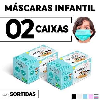 Kit 02 CX Mascara Descartavel Cirurgica Cor Sortida Kids 50