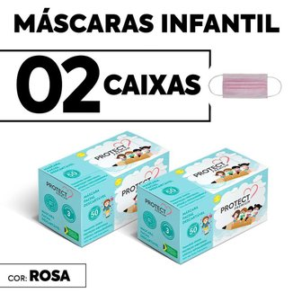 Kit 02 CX Mascara Descartavel Cirurgica Rosa Kids c/50 cada