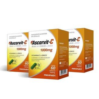 Kit 03 AscorVit Vitamina C 1000mg + Zinco 60 Caps Maxinutri